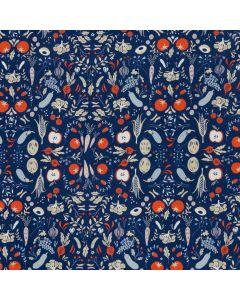 HORTUS FLEECE BY KATIA - GARDEN VEGETABLES BLUE