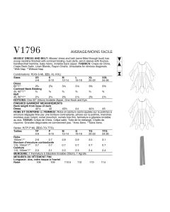 VOGUE - V1796 DRESS SEMI-FITTED FOR MISS